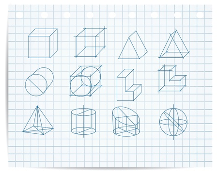 copybook: scheme of geometrical objects on copybook paper vector