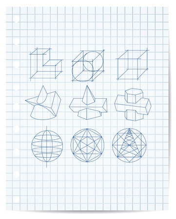 scheme of geometrical objects on copybook paper vector Vector