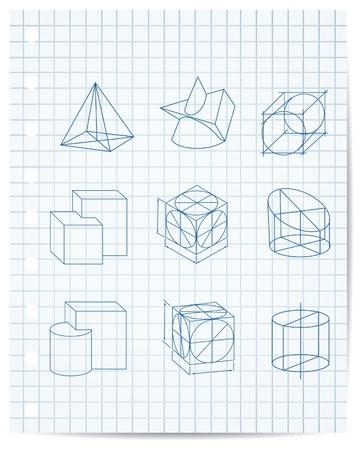 zylinder: Regelung von geometrischen Objekten auf Papier Heft Vektor