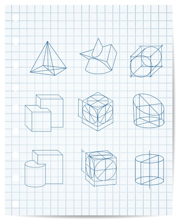 grid paper: scheme of geometrical objects on copybook paper vector