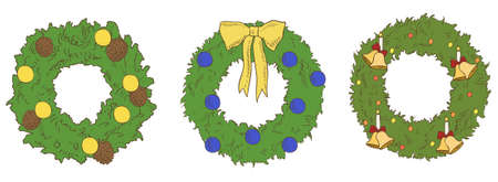 different color christmas wreaths vector Vector