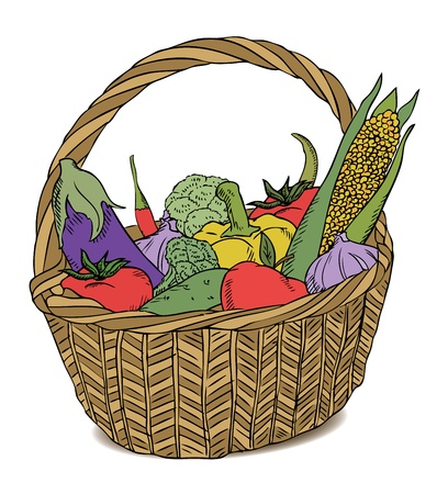 maize: basket with different vegetables color Illustration