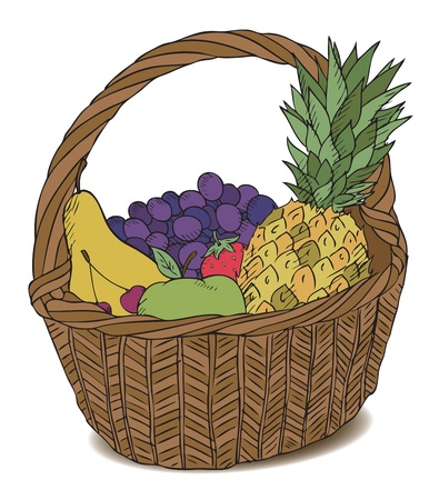 basket with different fruits color vector Illustration
