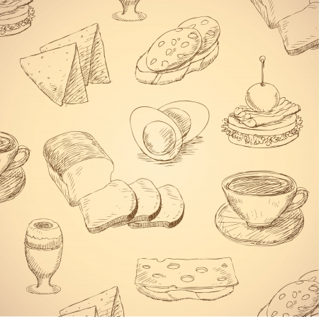 breakfast hand drawn food set  Vector