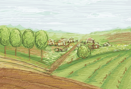 landscape with fields and village Stock Vector - 16789278