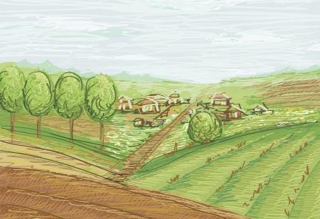 jachere: paysage avec des champs et des villages