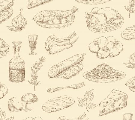plato pasta: dibujado a mano set alimentos