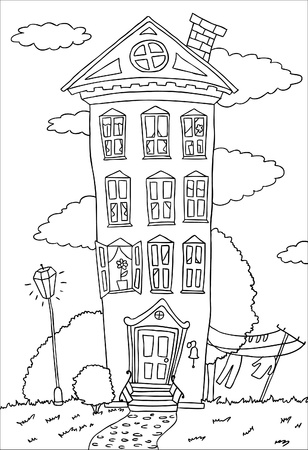dwelling: high dwelling house on summer lawn