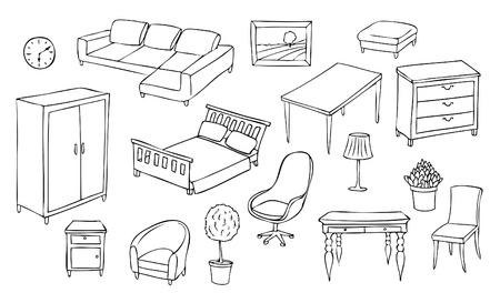 гардероб: различные наборы мебели Иллюстрация