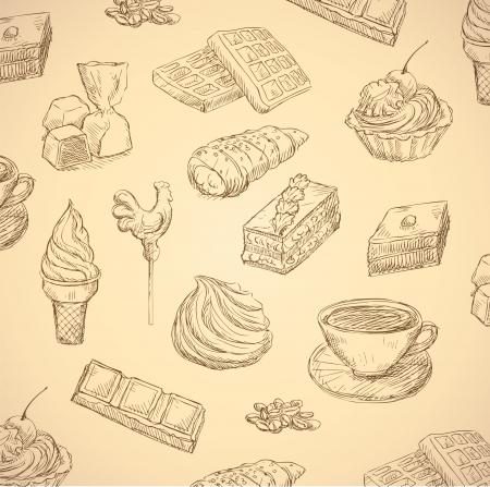 cafe bombon: dibujado a mano caramelos conjunto de alimentos Vectores