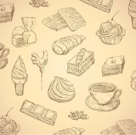 wafer: sweets hand drawn food set