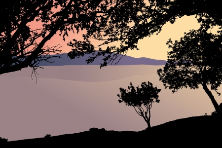landscape with lake and trees  Stock Vector - 16789268