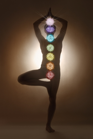 Yoga man standing, chakra symbols photo
