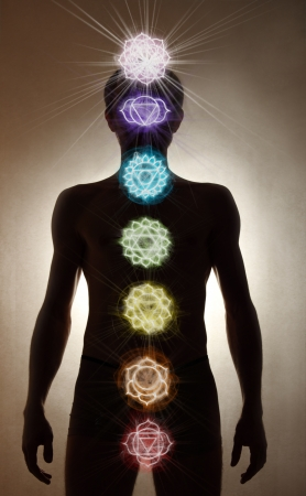 Man silhouette standing, chakra symbols Stock Photo - 18027566