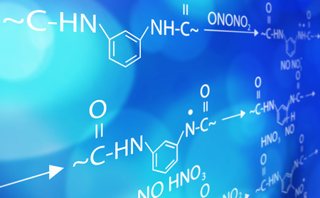 chemistry formula blue and white background Imagens
