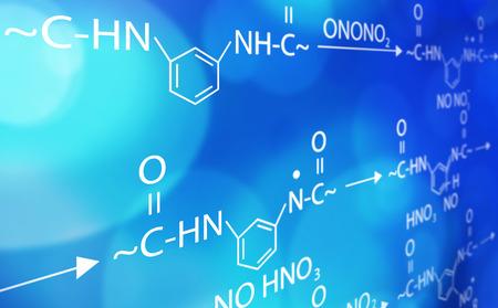 biotecnologia: fórmula química fondo azul y blanco