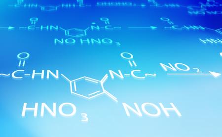 chemistry formula blue and white background photo