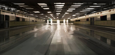 spacious desolate subway station illustration illustration