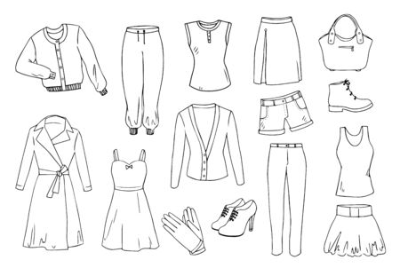 Fashion and clothes set Stock Vector - 28787761