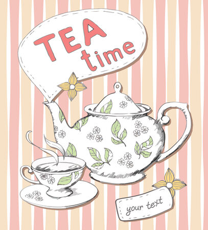 teatime: Teapot and cup background
