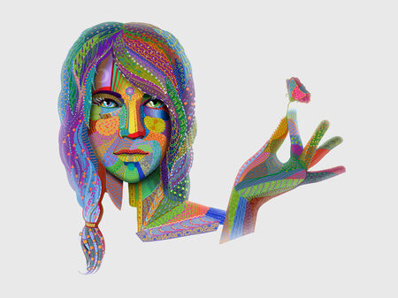 woman portrait with multicolored indian pattern holding flower Stock Photo - 28787771