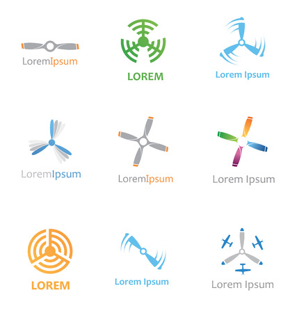 abstract aviation icons set