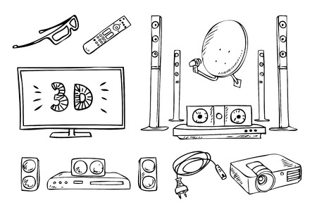 hand drawing: tv and sound household appliances set