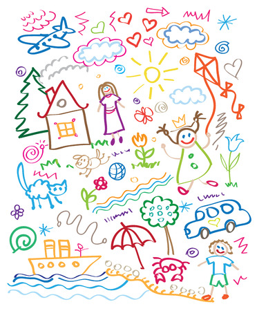 multicolored child drawing style set
