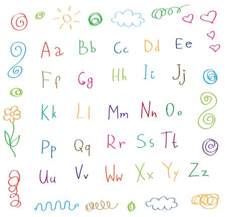 artoon: artoon style alphabet children drawing vector Illustration