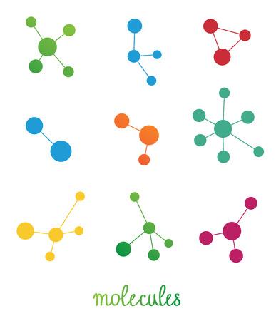 multicolored molecules symbols set Vector