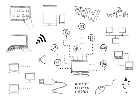 computer technologies and internet communication set Illustration
