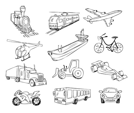 barge: transportation around the world set Illustration
