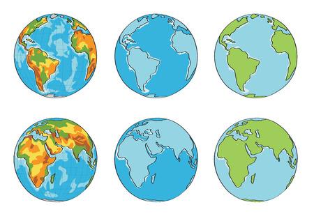 globe terrestre dessin: globe illustration avec des couleurs différentes