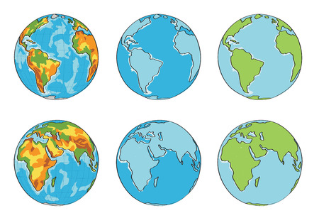 globe terrestre dessin: globe illustration avec des couleurs diff�rentes