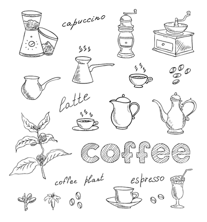coffeepot: coffee and tea set Illustration