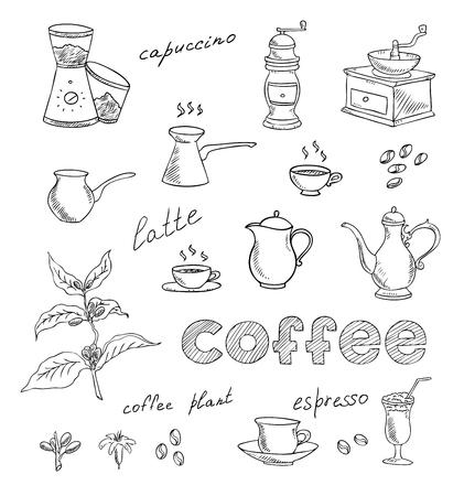 coffee and tea set Illustration