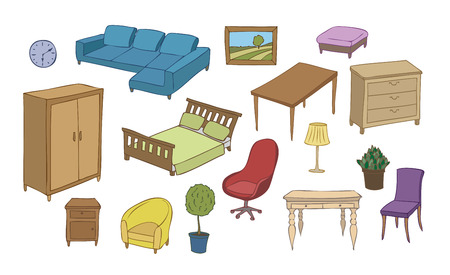 everyday: furniture and decoration color vector set