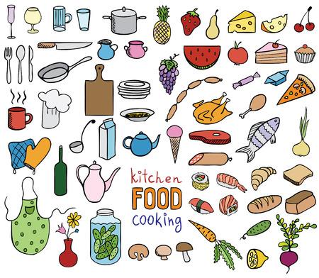 食糧および調理の色アイコン ベクトル コレクション