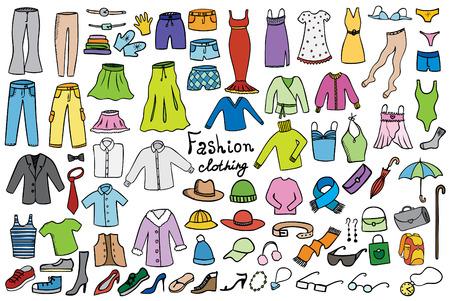 Colección de los iconos de la moda y la ropa de color vectorial Vectores