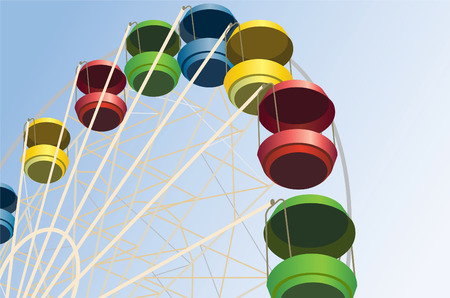 theme parks: big wheel with multicolored cabins in amusement park, vector