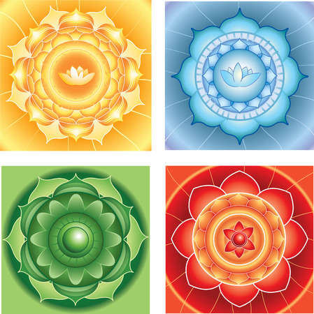 bright abstract circle backgrounds, mandalas of different chakras, vector Ilustração