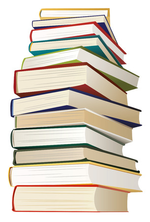 big stack of books with multicolored covers, vector