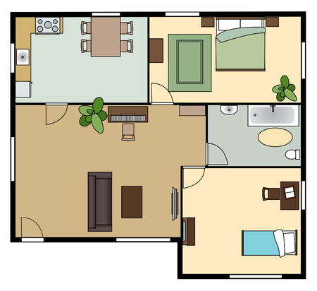 flat scheme with furniture, view from above, vector
