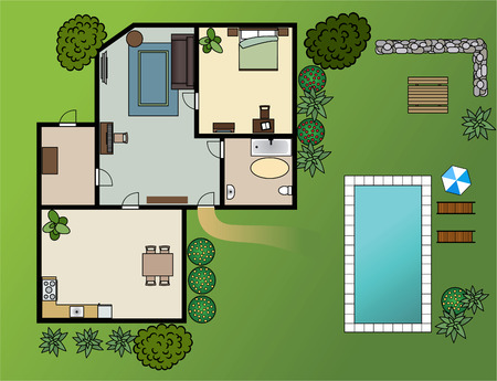 country house scheme with furniture, garden, vector Ilustração