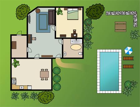 Esquema de casa de campo con muebles, jardín, vector Foto de archivo - 29384229