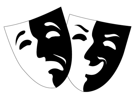 comedy tragedy: theatre black and white emotion masks, vector