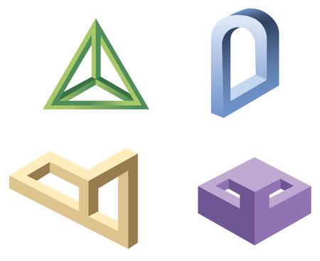 arte optico: irreales formas geométricas símbolos, vector Vectores