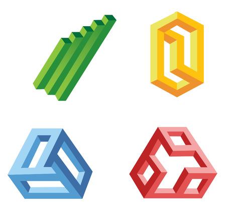 unreal: unreal geometrical shapes symbols, vector