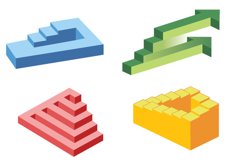 psychical: unreal stairs symbols, vector Illustration