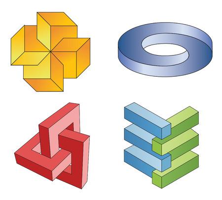 arte optico: símbolos geométricos irreales, vector Vectores